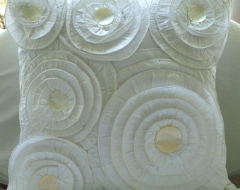 Vintage Charm - Pillow Sham Covers - 24x24 Inches Silk Pillow Cover with Ruffles and Pearls