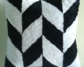 "Designer Black Pillows Cover, Chevron Ribbon Pillows Cover Square  18""x18"" Silk Pillow Covers - Black N White"