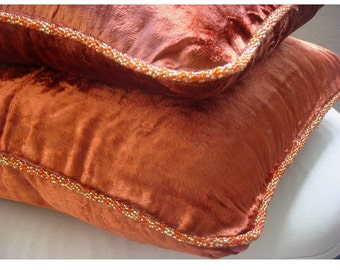Rust Shimmer - Pillow Sham Covers - 24x24 Inches Velvet Pillow Sham Cover with a handmade beaded border
