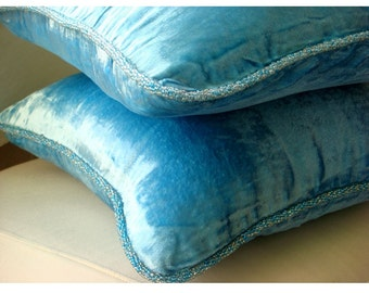 "Luxury Aqua Blue Accent Pillows, 16""x16"" Velvet Pillowcase, Square  Velvet Beaded Cord Throw Pillows Cover - Aqua Shimmer"