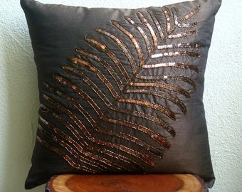 """Luxury Brown Pillows Cover, Sequins Leaf Tropical Theme Pillows Cover Square  18""""x18"""" Silk Pillows Cover - Brown Leaf"""