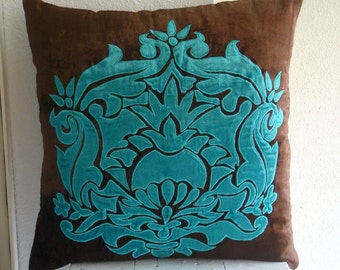 Applique Damask  - Throw Pillow Covers - 20x20 Inches Velvet Pillow Cover Couch, Sofa Toss Bed Pillow Case Applique Velvet Damask Pillows