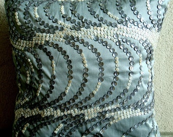 Sea Fantasy - Throw Pillow Covers - 20x20 Inches Silk Pillow Cover with Mother of Pearl