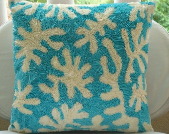 Aquamarine Corals - Pillow Sham Covers - 24x24 Inches Silk Pillow Sham Cover with Satin Ribbon Embroidery