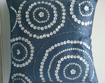 """Handmade  Blue Throw Pillows Cover, Spiral Mother Of Pearls Pillowcases Square  18""""x18"""" Silk Pillowcase - Midnight Moon"""