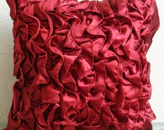 """Handmade  Red Accent Pillows, Vintage Style Ruffles Shabby Chic Throw Pillows Cover Square  18""""x18"""" Satin Pillow Covers - Vintage Rubys"""