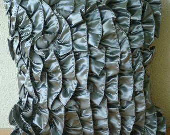 Vintage Silver - Pillow Sham Covers - 24x24 Inches Satin Pillow Sham Cover with Satin Silver Ruffles