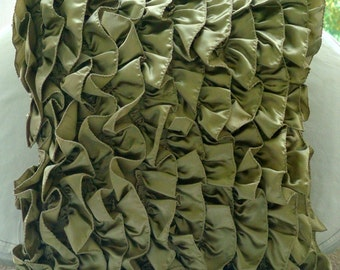 """Olive Green Decorative Pillow Cover,Vintage Style Ruffles Shabby Chic Pillow Covers Square  18""""x18"""" Satin Throw Pillows Cover-Vintage Olives"""