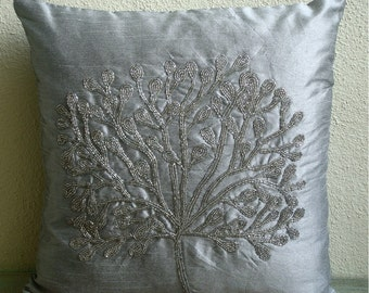 "Handmade Silver Throw Pillows Cover For Couch, 16""x16"" Silk Throw Pillows Cover, Square  Beaded Tree Pillow Cases - The Silver Tree"