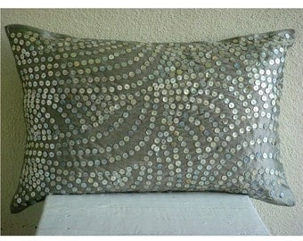 Decorative Oblong / Lumbar Rectangle Pillow Covers Accent Pillow Couch Sofa 12x16 Silver Silk Pillows Pearl Embroidered - Silver Pearls