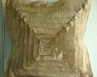 "Designer Gold Throw Pillows Cover, Vintage Style Frills Throw Pillows Cover Square  18""x18"" Silk Pillows Cover - Vintage Gold Frills"