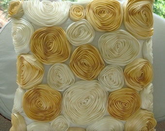 Gold N Ivory Blooms - Pillow Sham Covers - 24x24 Inches with Satin Ribbon Embroidery