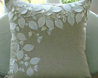 Linen Beauty - Pillow Sham Covers - 24x24 Inches Cotton Linen Pillow Sham Cover with Mother of Pearl and Satin Embroidery