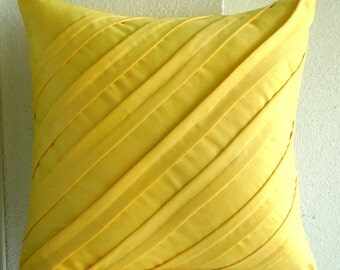 """Handmade Yellow Throw Pillow Covers, Textured Pintucks Solid Color Pillow Covers Square  18""""x18"""" Faux Suede Pillowcase -Contemporary Yellow"""