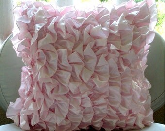 Vintage Soft Pink - Pillow Sham Covers - 24x24 Inches Satin Pillow Sham Cover with Soft Pink Satin Ruffles