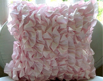 Vintage Soft Pink - Euro Sham Covers - 26x26 Inches Satin Euro Sham Cover with Soft Pink Satin Ruffles