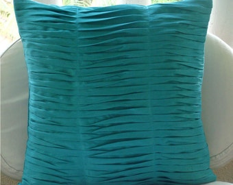 "Luxury Aqua Blue Pillows Cover, 16""x16"" Silk Pillowcase, Square  Textured Pintucks Solid Color Throw Pillows Cover - Gentle Waves"