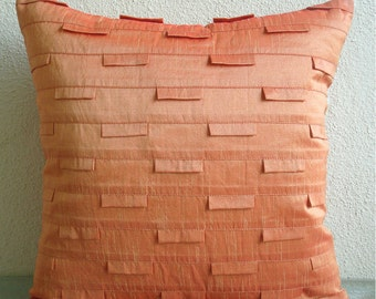 "Handmade Orange Pillow Cases, 16""x16"" Silk Pillow Covers, Square  Pintucks Textured Pillow Covers - Orange Ocean"