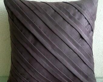 Contemporary Chocolate Brown - Pillow Sham Covers - 24x24 Inches Suede Pillow Sham Cover in Chocolate Brown