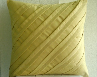 "Butter Yellow Pillows Cover, Textured Pintucks Solid Color Pillow Cases Square  18""x18"" Faux Suede Pillow Covers - Contemporary Maple Butter"