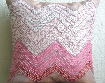 "Handmade Pink Pillow Cases, 16""x16"" Silk Pillow Covers, Square  Sequins Chevron Girls Room Pillows Cover - Drama Princess"