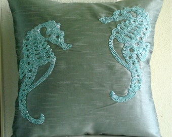 "Designer Blue Pillow Covers, 16""x16"" Silk Pillows Covers For Couch, Square  Beaded Sea Horse Beach And Ocean Theme Pillows Cover - Sea Horse"