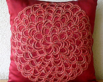 "Luxury Deep Red Pillows Cover, 16""x16"" Silk Pillowcase, Square  Jute Flower Medallion Floral Theme Pillows Cover - Blossoming"