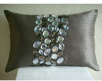Decorative Oblong / Lumbar Rectangle Throw Pillow Covers Accent Pillow Couch 12x16 Silver Silk Pillows Crystal Embroidered - Crystal Delight