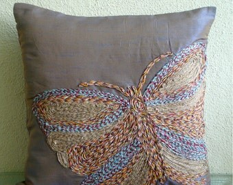 "Handmade Purple Throw Pillow Covers, 16""x16"" Silk Pillowcase, Square  Multicolor Jute Butterfly Pillows Cover - Colorful Butterfly"