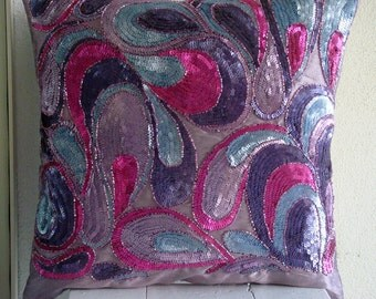 Royal Obsession - Pillow Sham Covers - 24x24 Inches Silk Pillow Sham Cover Embroidered with Different Color Sequins