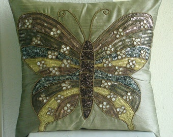 "Handmade Olive Green Pillow Cases, 16""x16"" Silk Pillow Covers, Square  Butterfly Theme Sequins And Beaded Pillows Cover - Butterfly Envy"