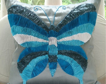 Butterfly Dreams - Euro Sham Covers - 26x26 Inches Silk Euro Sham Cover Embroidered with Satin Ribbons