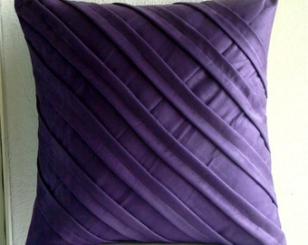 "Handmade  Purple Pillows Cover, Textured Pintucks Solid Color Pillow Cases Square  18""x18"" Faux Suede Pillow Covers - Contemporary Purple"