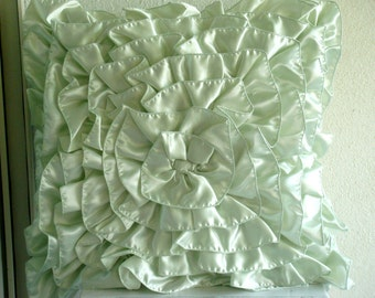 Mint Green Ruffles - Euro Sham Covers- 26x26 Inches Crushed Satin Euro Sham Cover with Ruffles