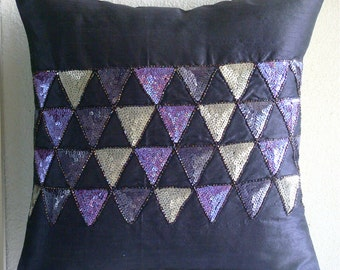 Violet Triangles - Euro Sham Covers - 26x26 Inches Silk Euro Sham Cover Embroidered with Different Color Sequins & Beads