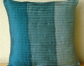 """Blue Throw Pillows Cover For Couch, Color Block Textured Pintucks Pillows Cover Square  18""""x18"""" Silk Pillows Covers For Couch-Shades Of Teal"""