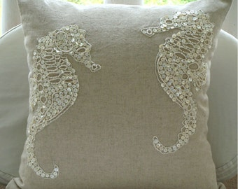 Sea Horse Pearls  - Pillow Sham Covers - 24x24 Inches Linen Pillow Sham Cover with Pearl Embroidery