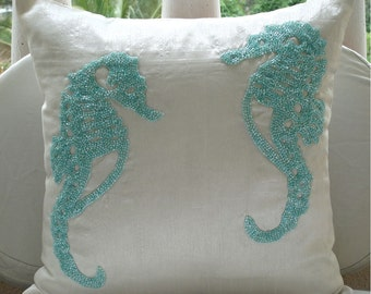 Sea Horse Aqua - Pillow Sham Covers - 24x24 Inches Silk Pillow Sham Cover with Bead Embroidery