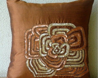 """Luxury  Rust Pillow Covers, Sequins Flower Floral Theme Throw Pillows Cover Square  18""""x18"""" Silk Pillows Covers For Couch - Rust Bloom"""
