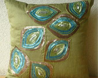 """Handmade Sequins Peacock Pillows Cover, Green Decorative Pillows Cover Silk Throw Pillows Cover, Square  20""""x20"""" - Peacock Abstract"""