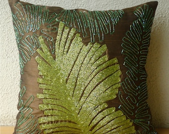 "Luxury  Brown Decorative Pillows Cover, Beaded Leaf Botanical Pillows Cover Square  18""x18"" Silk Pillowcase - Rain Forest"