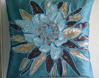 "Designer Sequins & Beaded Flower Medallion Floral Theme Pillows Cover, Blue Throw Pillows Cover For Couch Silk, Square 20""x20"" - Centerpiece"