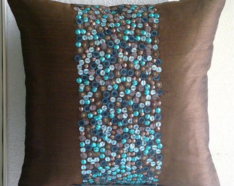 "Luxury Brown Throw Pillow Covers, 16""x16"" Silk Pillow Covers, Square  3D Turquoise Sequins Pillows Cover - Cocoa & Turq"
