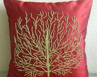 Tree Of Joy - Euro Sham Covers - 26x26 Inches Silk Euro Sham Cover with Bead Embroidery