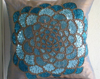 Wild Flower - Euro Sham Covers - 26x26 Inches Silk Euro Sham Cover with Embroidery and Sequins