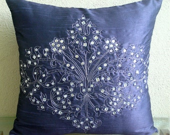Crystal Damask  - Throw Pillow Covers - 18x18 Inches Pillow Cover with Damask Embroidery