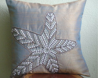 """Luxury 3D Sequins Starfish Beach And Ocean Theme Pillows Cover, Purple Throw Pillows Cover For Couch Silk, Square  20""""x20""""-Starfish Sparkle"""