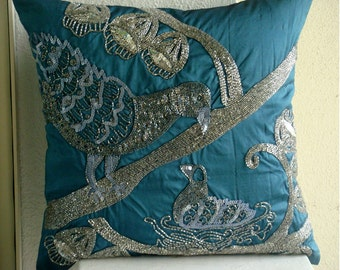 Birdy Love  - Pillow Sham Covers - 24x24 Inches Silk Pillow Sham Cover with Beads and Sequins