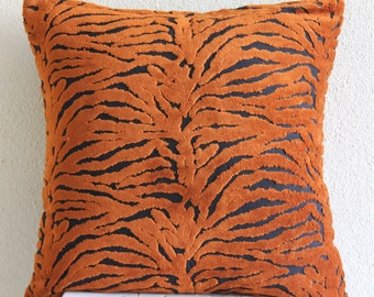 """Designer Rust Pillow Covers, 16""""x16"""" Velvet Pillows Covers For Couch, Square  Tiger Design Pillows Cover - Tiger Stripes"""