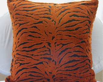 """Designer Tiger Design Pillows Cover, Rust Pillow Covers Velvet Pillows Covers For Couch, Square  20""""x20"""" - Tiger Stripes"""